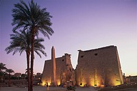 Egypt _ Ancient Thebes UNESCO World Heritage List, 1979. Luxor. Karnak. Temple of Amon. Pylon of Ramses II, 19th Dynasty, 1290_1224 BC. Evening lights
