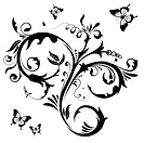 Floral with butterfly, element for design, vector illustration