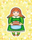 red_haired girl in a green dress with a pie in hands