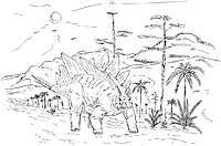 vector _ dinosaur walking prehistoric nature , isolated on background