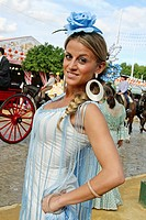 Feria de Abril Sevilla, Andalucia, andalusian woman woman wearing a tradicional costume