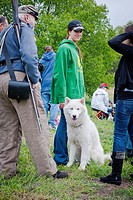Big white dog and pretty young lady, Neshaminy Park, Pennsylvania, USA