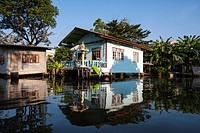 House, reflections, Khlong or Klong, canal, Bangkok, Thailand, Asia