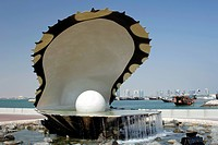 The Pearl Monument on the Doha corniche in Qatar