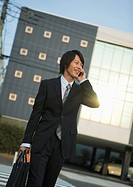Businessman talking on a smartphone