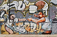 Finger wrestling, graffiti at the Theater-Halle 7, Gerolsteiner Ring, Munich, Bavaria, Germany, Europe, PublicGround