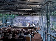 The Garsington Temporary Opera House, Wormsley Estate, Buckinghamshire, Robin Snell, 2011, UK, Interior dusk view during performance, SNELL ASSOCIATES...