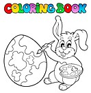Coloring book with bunny artist _ thematic illustration.