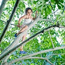 young girl climbing on a fig tree