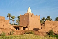 Marabout or tomb of an Islamic saint, and crumbling adobe houses in a palm grove near Skoura, Lower Dades Valley, Kasbahs Route, southern Morocco, Mor...