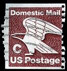 A stamp printed in the United States of America shows eagle symbol