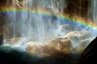 Rainbow in a watwerfall, in Yosemite national Park
