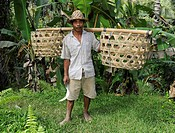 Farmer with empty baskets, Ubud, Bali, Indonesia, Southeast Asia