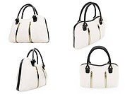 Isolated collection of handbags over white background