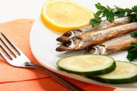 Smoked fishes with lemon, cucumber and green parsley on white plate. Close_up. Studio photography.
