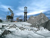 Drilling Platform in winter landscape in 3d