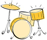 Illustration of a drum set.