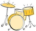 Illustration of a drum set.