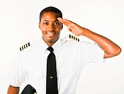 Young Pilot isolated on a white Background