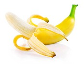 single fresh banana fruit isolated on white background with clipping path included
