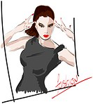 Woman fashion illustration.Vector sketch of the girl