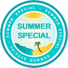 An illustrated badge that declares a summer special. All on white background.