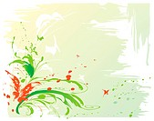 Abstract painted background with leaves, flowers and butterflies, editable vector illustration