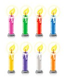 coloured burning holiday candles vector illustration, isolated on white background