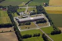 Aerial view, temporary atomic storage facility, Ahaus, Muensterland region, North Rhine-Westphalia, Germany, Europe