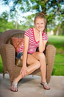 Outdoor portrait of blond teenage girl