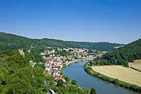 View from Hinterburg Castle, Neckarsteinach, Neckar Valley-Odenwald nature park, Hesse, Germany, Europe