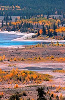 Twin lakes recreation area in Colorado in autumn time