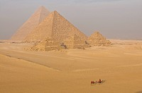 Pyramids of Giza, camel rider in front, Egypt, Africa