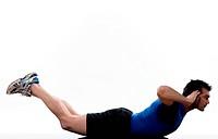 man exercising abdominals workout on white background