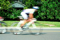 A Blurred motion bicycle race