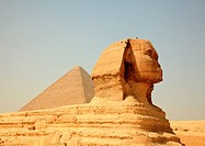 Smoggy view of Sphinx at Giza near Cairo in Egypt
