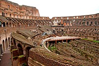 Inside view of the colosseum in Rome, Italy