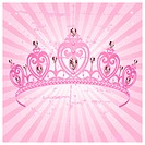 Beautiful shining true princess crown on radial grange background