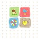 Romantic card with bird,flower,leaf and mushroom . Vector illustration
