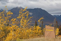 Kluane National Park and Reserve sign, Indian Summer, leaves in fall colours near Kathleen Lake, St, Elias Mountains, Yukon Territory, Canada