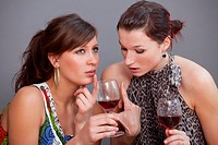 two young female friends discussing with glasses sparkling wine