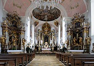 Interior view of the Church of St. Peter and Paul, Oberammergau, Upper Bavaria, Bavaria, Germany, Europe