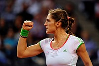 Andrea Petkovic, GER, cheering at a made point, Women's tennis, Porsche Tennis Grand Prix Stuttgart, 2011, Porsche Cup, 16.04.-24.04.2011, Porsche-Are...