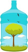 A lovely vector of a tree, grass, clouds and birds inside a 20L water bottle. Editable vector file in the .eps format.