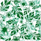 Seamlessly vector wallpaper with art green foliage