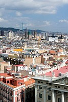 country spain view on the city barcelona