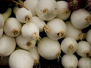 White onions for sale at a farmer´s market.