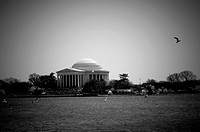 Jefferson memorial over Potomac river _ Washington DC