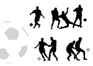 Black silhouettes of football players isolated on white background.