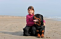 little girl and her purebred rottweiler on the beach